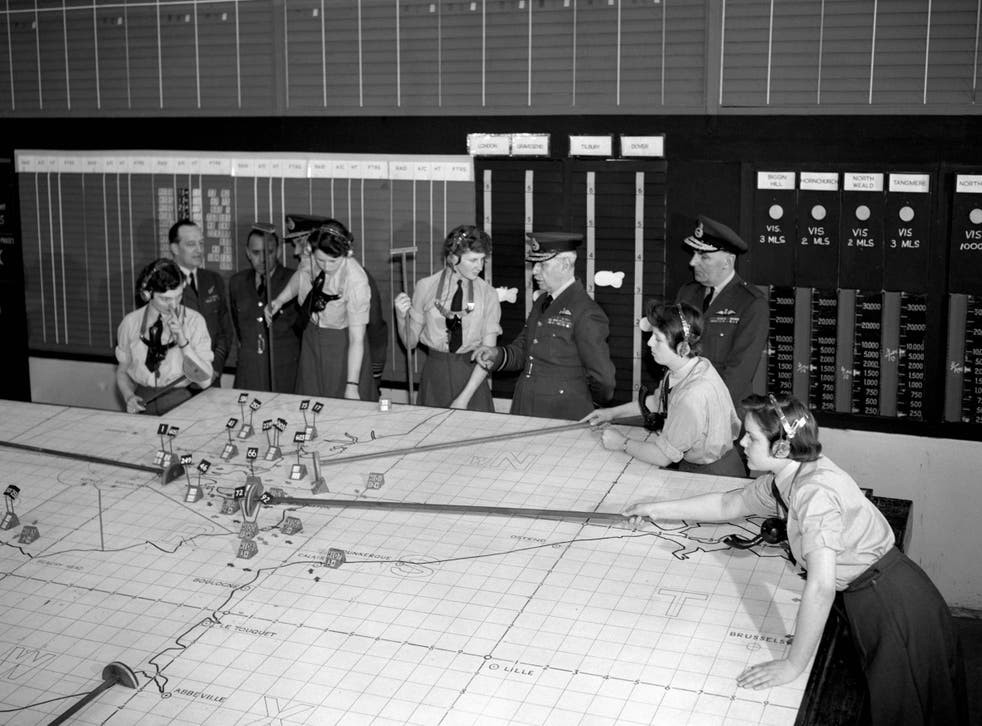 Lord Dowding (centre) visits the underground operations room at RAF Uxbridge, the controlling nerve centre of fighter command during the Battle of Britain