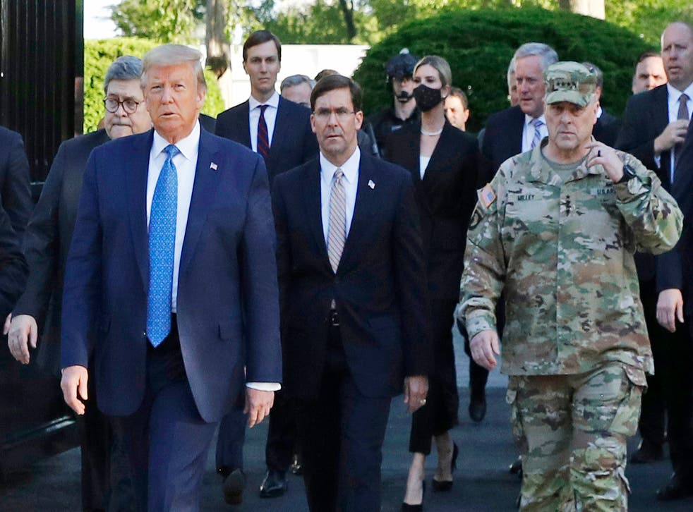 General Mark Milley apologized today for appearing alongside the president in army fatigues last week
