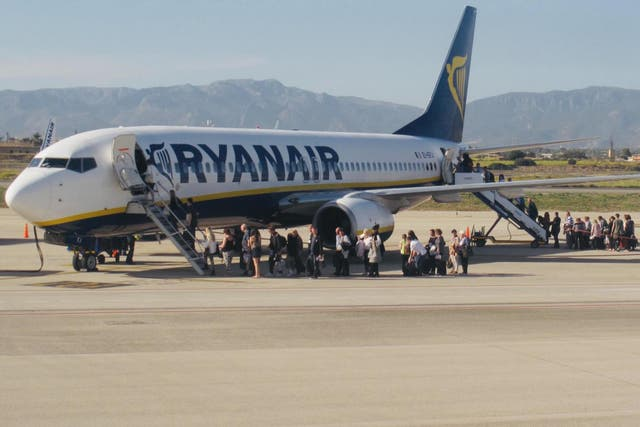 Well drilled? Ryanair passengers boarding a flight at Palma de Mallorca, before the Covid-19 pandemic