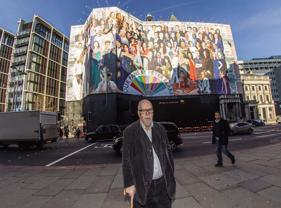 Sir Peter Blake stands in front of his mural, which was used to cover the Mandarin Oriental in Knightsbridge during its refurbishment