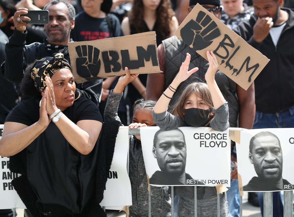Demonstrators take part in a Black Lives Matter protest in Leeds in the wake of the killing of George Floyd by US police