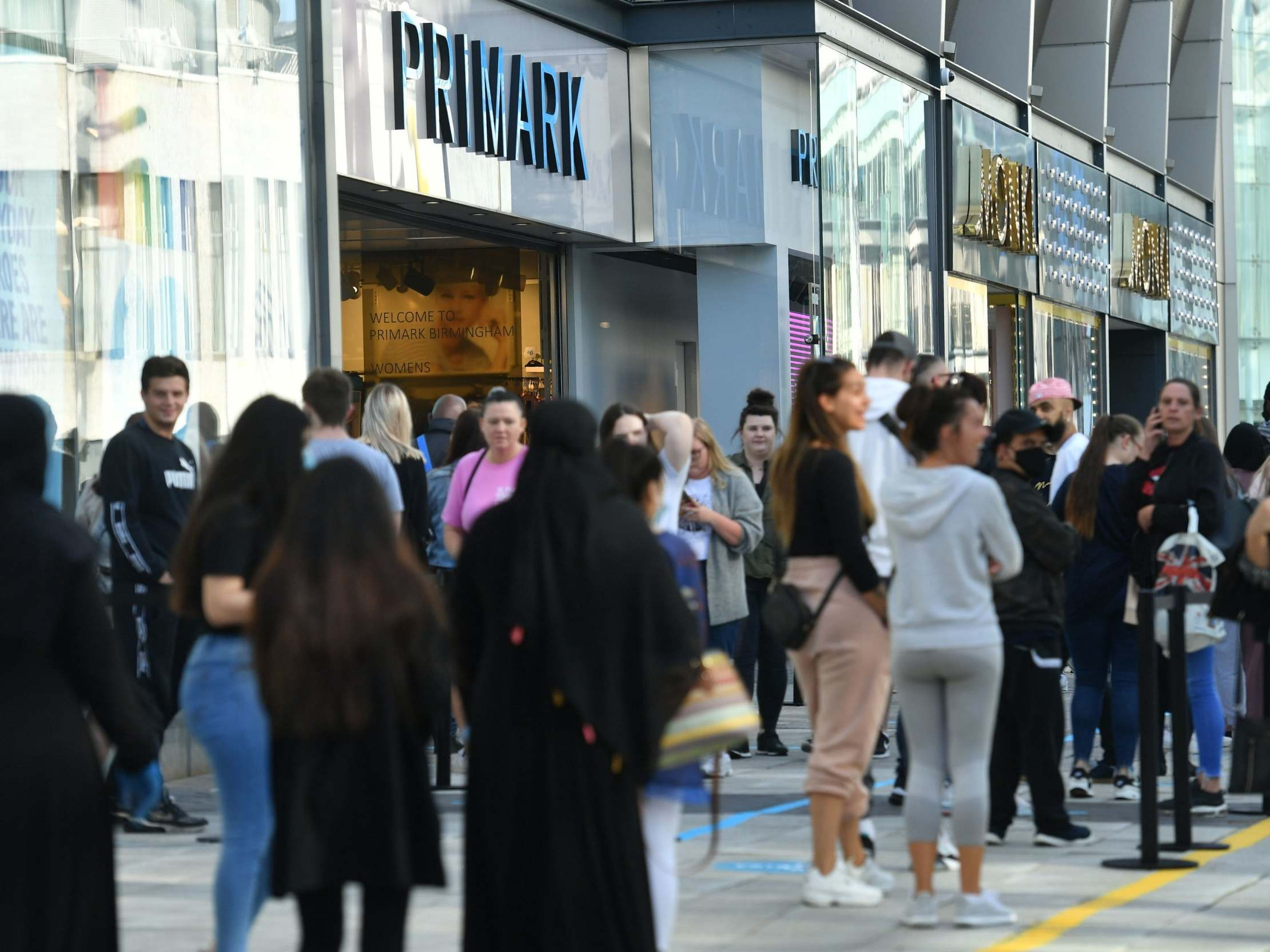 'Enormous' queues outside Primark stores as non-essential shops open for first time since lockdown
