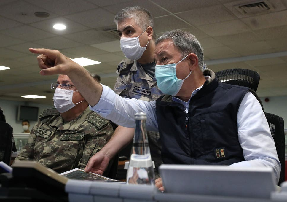 Turkish Defense Minister Hulusi Akar and army commanders follow the operation in northern Iraq at Air Force Command Control Center in Ankara