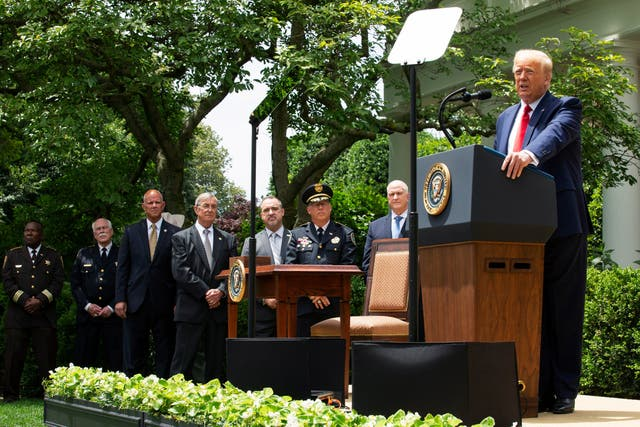 Donald Trump speaks at the signing of an executive order on police reform