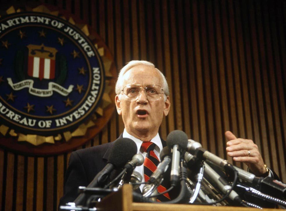 Sessions speaking at a press conference in New York, 1993