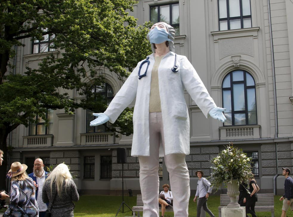 A statue called 'Medics To The World' by sculptor Aigars Bikse has been unveiled in Latvia in tribute to all health professionals