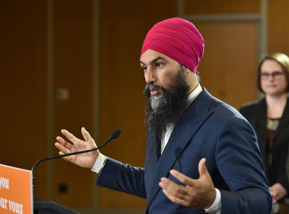 Jagmeet Singh, the leader of the NDP, speaks in Vancouver during a campaign stop in 2019.