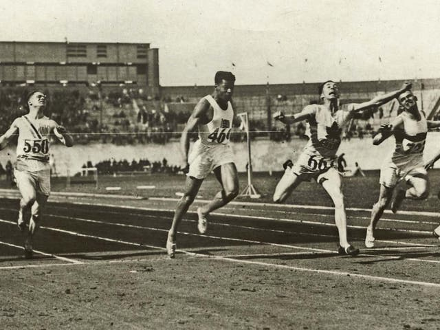 London (second from left) in the 100m at the 1928 Amsterdam Olympics