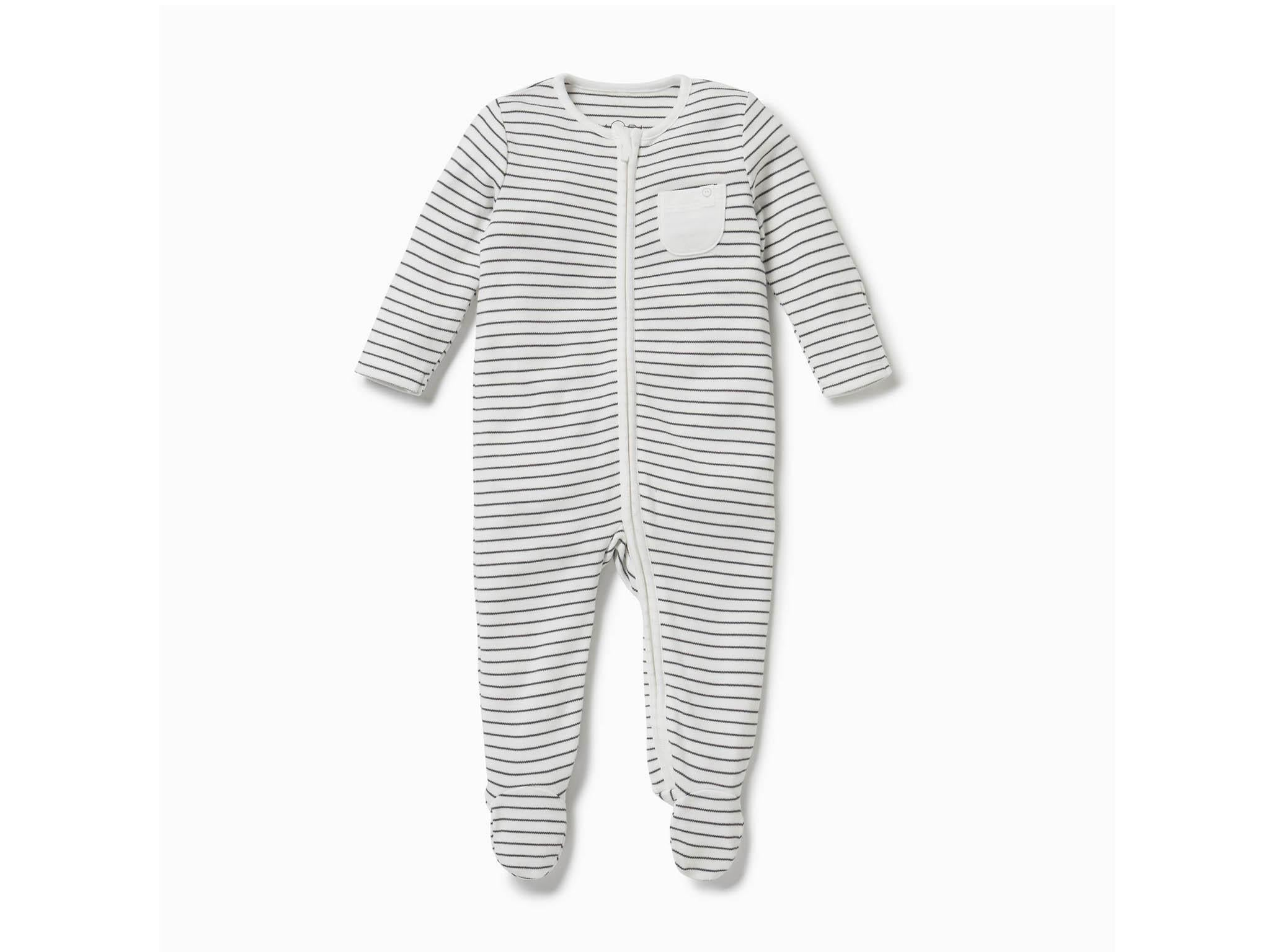 Integrated Scratch Mitts Soft Organic Cotton Piccalilly Baby Sleepsuit with Feet Vegetable Print White with All-Over Fruit