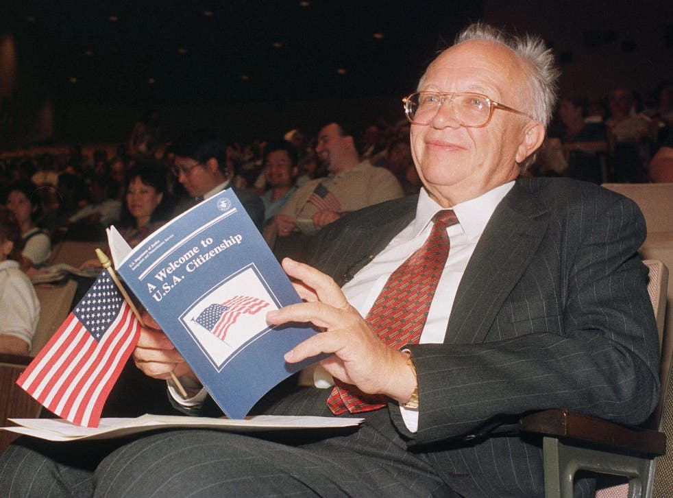 Being sworn in as a US citizen in 1999