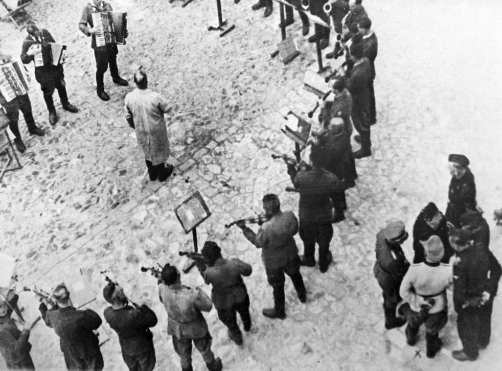 Prisoners playing music at Lwow (now Lviv, Ukraine) concentration camp