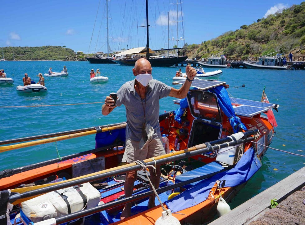 Graham Walters, a 72-year-old British solo rower from Leicester, arrives into Antigua in late April