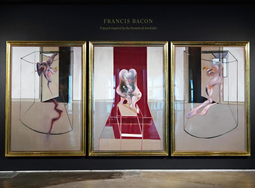 Francis Bacon's 'Triptych Inspired by the Oresteia of Aeschylus' is exhibited during a preview by Sotheby's on 19 June 2020 in New York City.