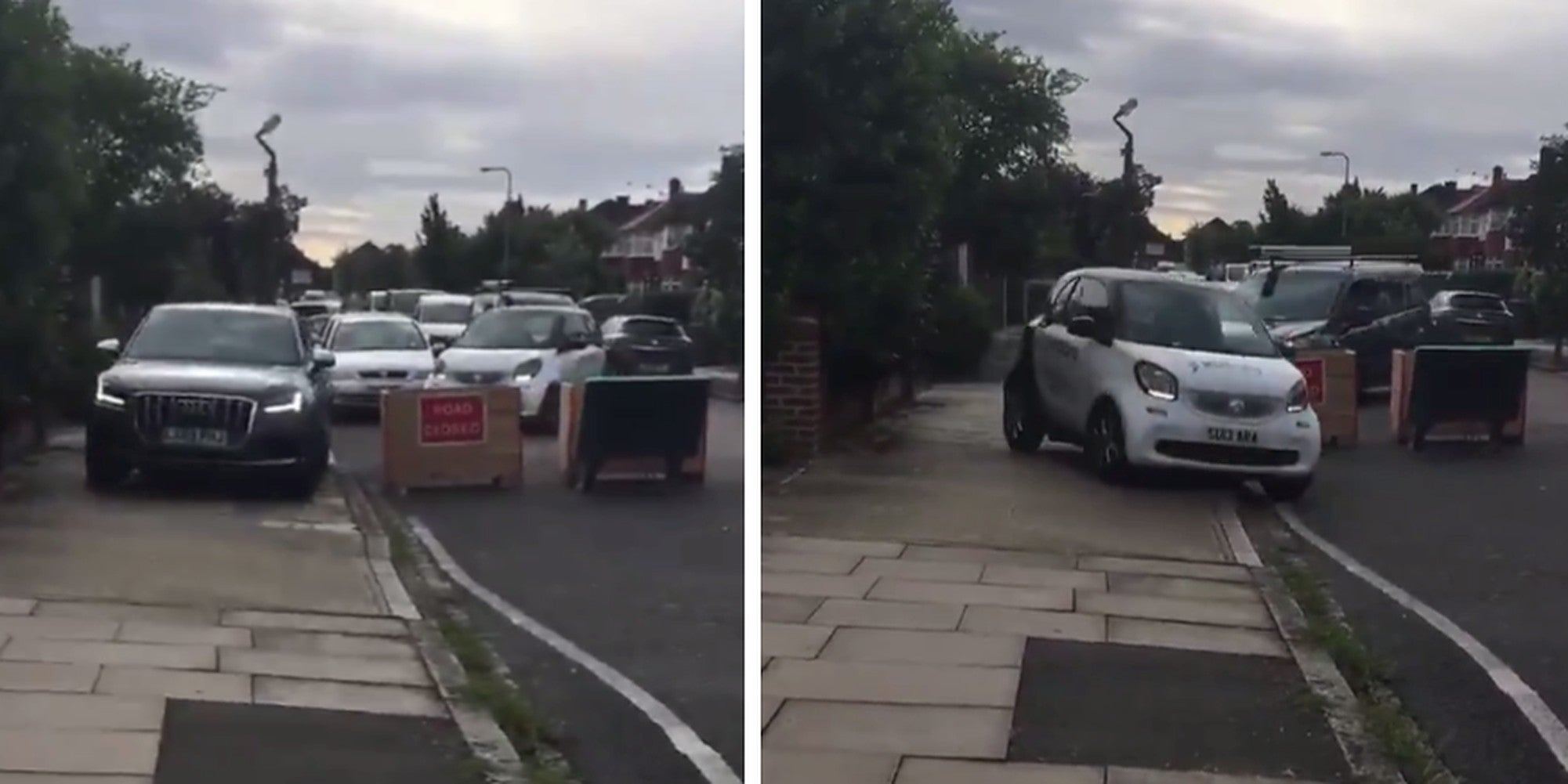 Shocking video shows dangerous drivers speeding over the pavement to avoid road blocks