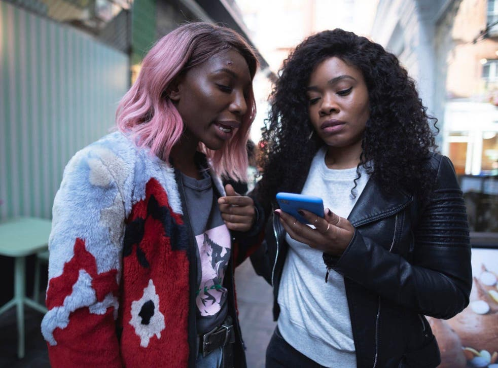 Lives on the line: for Arabella (Michaela Coel, left) and Terry (Weruche Opia), their phones are as necessary as breathing