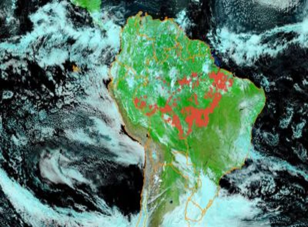 Aerial images of fires in Amazon rainforest with the red dots representing fire hotspots in June 2020