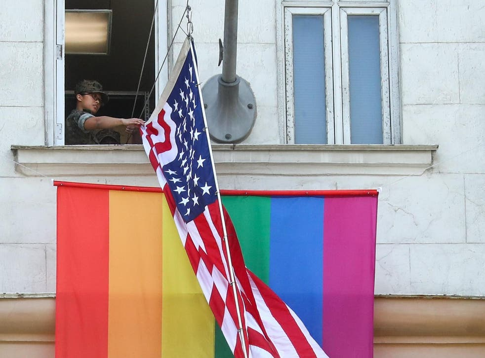Mr Putin said the US embassy's move to raise the LGBT+ pride flag 'revealed something about the people that work there'