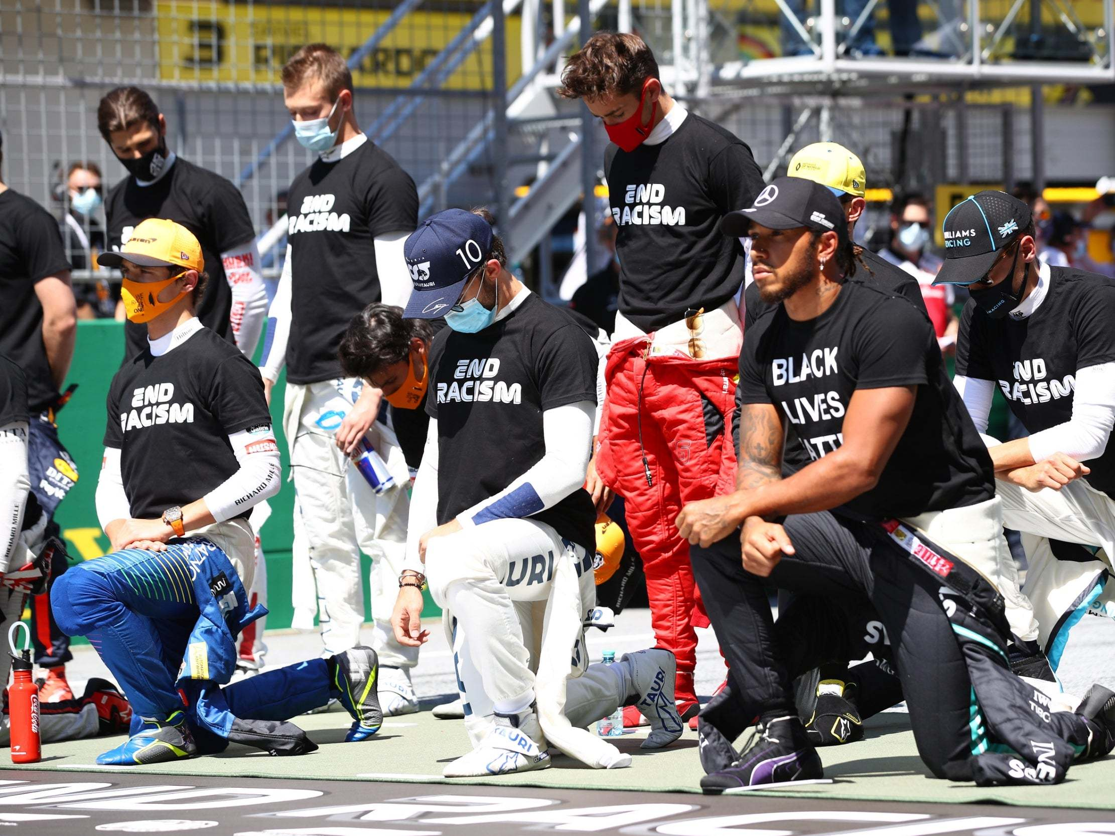 Lewis Hamilton takes a knee before Austrian Grand Prix but six F1 drivers decide to stand