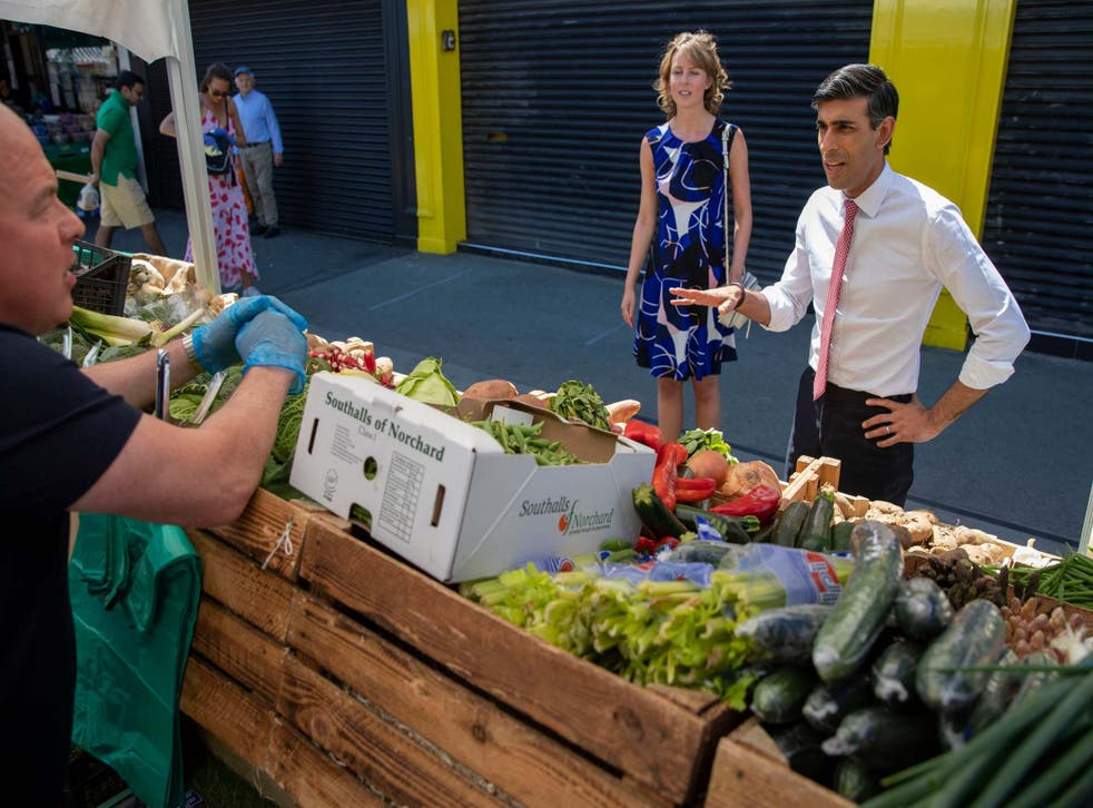 Rishi Sunak visits Tachbrook Market in Westminster on 1 June, the first day open-air markets reopened after lockdown restrictions were eased