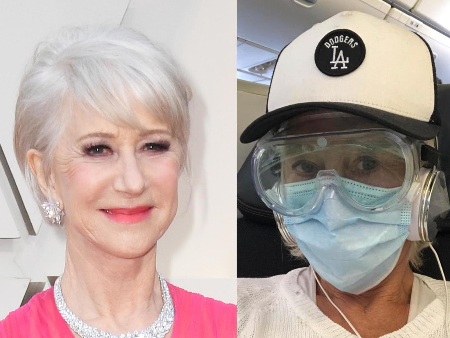 Dame Helen Mirren wears face mask and goggles during flight