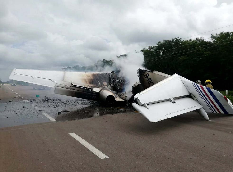 A plane has been found on fire in Mexico in the middle of a highway