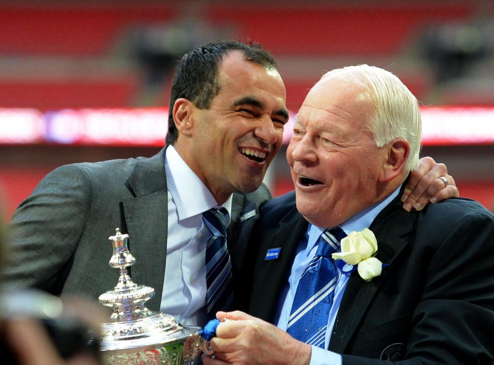 Roberto Martinez (left) with former Wigan owner Dave Whelan after the club's FA Cup triumph in 2013