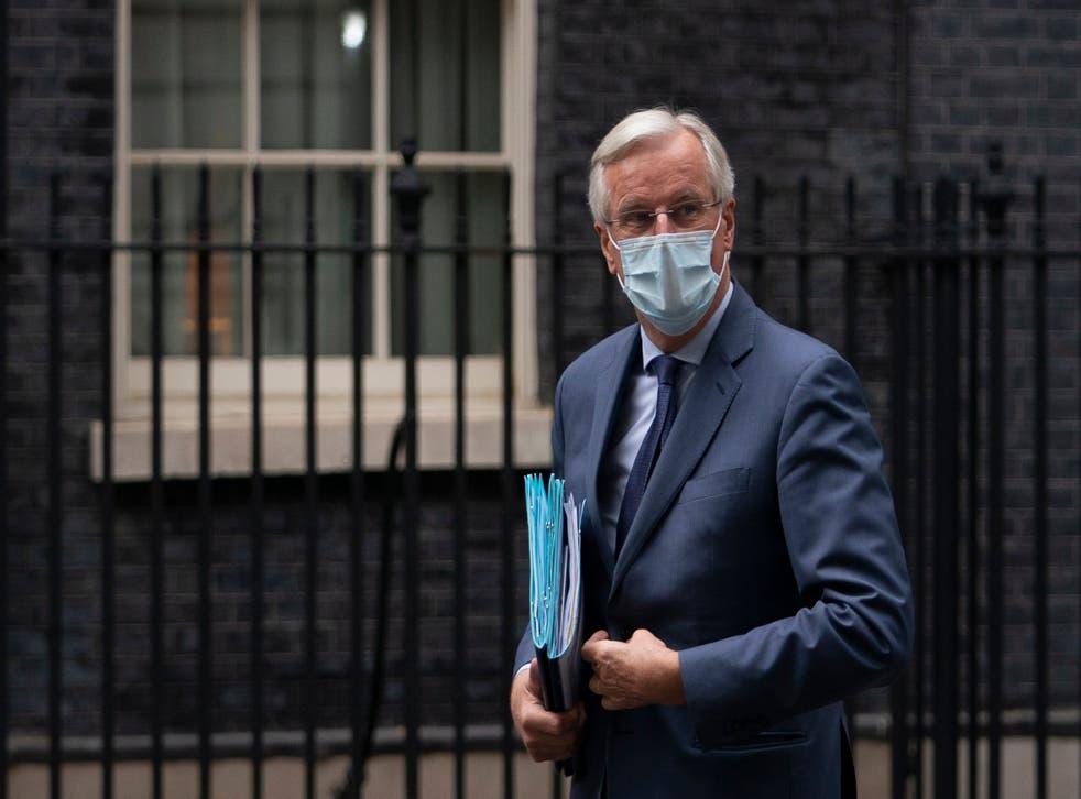 European Union chief Brexit negotiator Michel Barnier arrives at 10 Downing Street