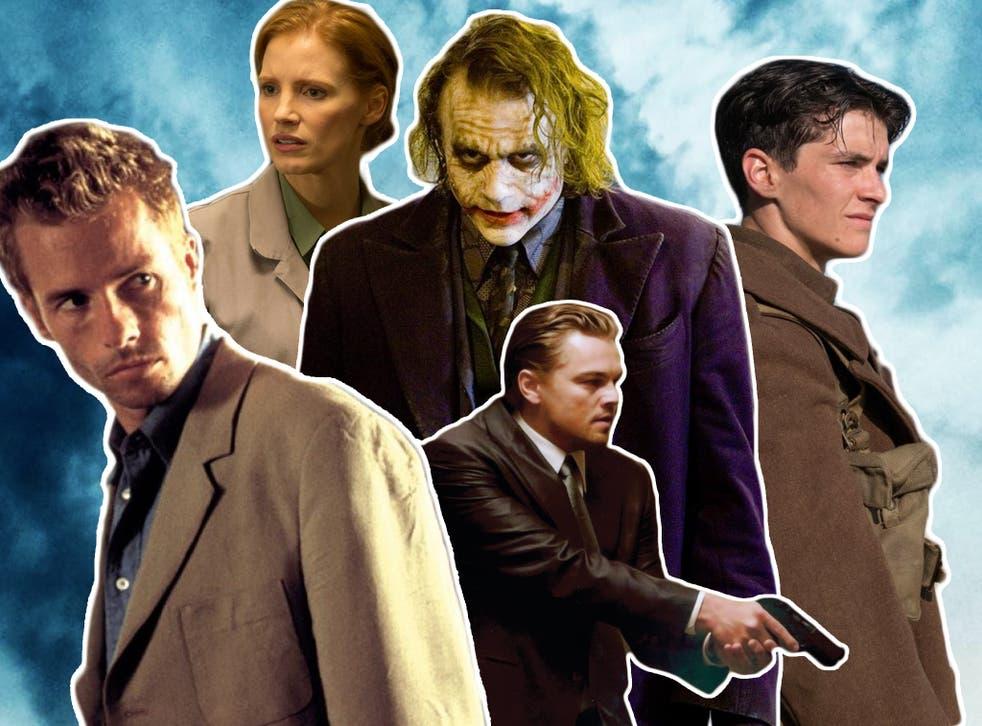 Guy Pearce in 'Memento', Jessica Chastain in 'Interstellar', Heath Ledger in 'The Dark Knight', Leonardo DiCaprio in 'Inception' and Fionn Whitehead in 'Dunkirk'