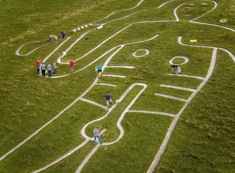 Archaeologists began work to establish the Cerne Abbas Giant's age this year but have tests have been delayed by the coronavirus pandemic