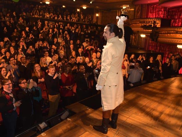 Lin-Manuel Miranda onstage as Alexander Hamilton