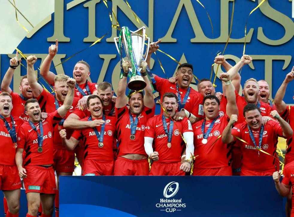 Saracens lift the Heineken Cup in 2019