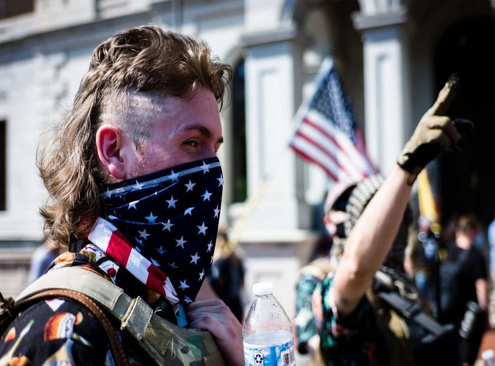 A Booglaoo Boi during the Red Flag Law Protest near Capitol Square in Richmond, Virginia, earlier this month
