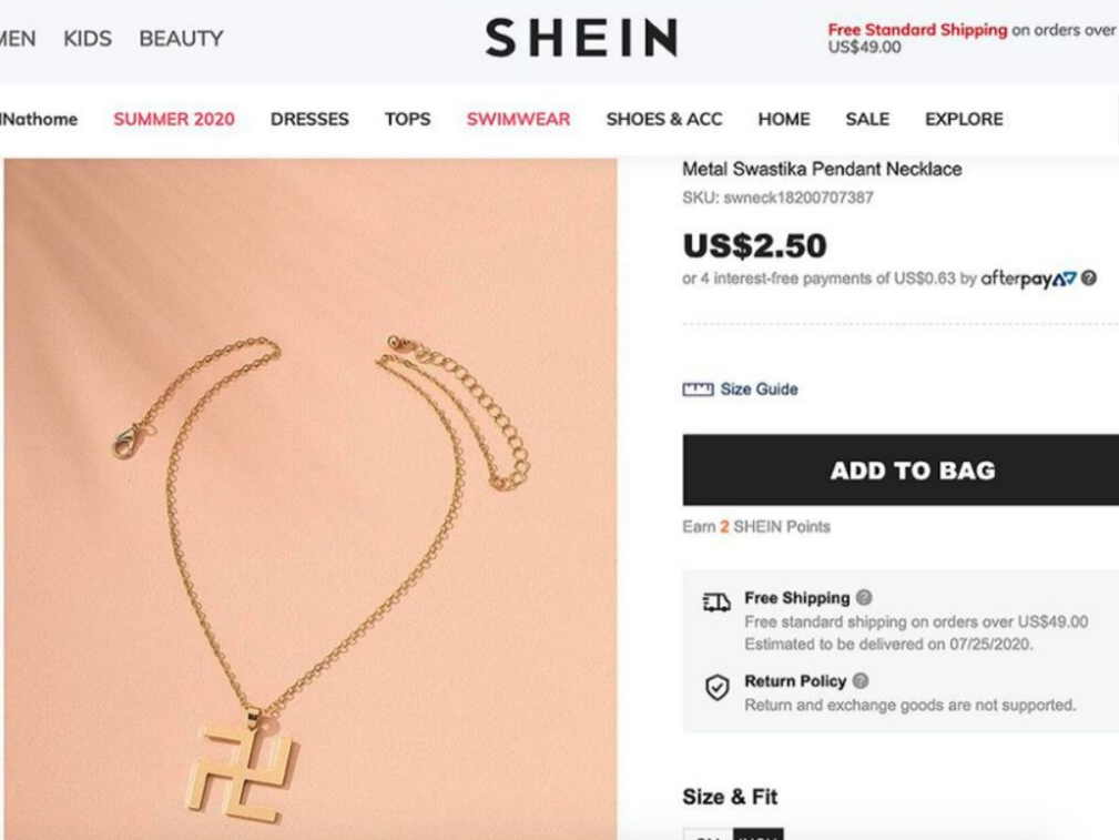 Shein apologises and removes swastika necklace from website, saying 'for the record, it was not a Nazi pendant'