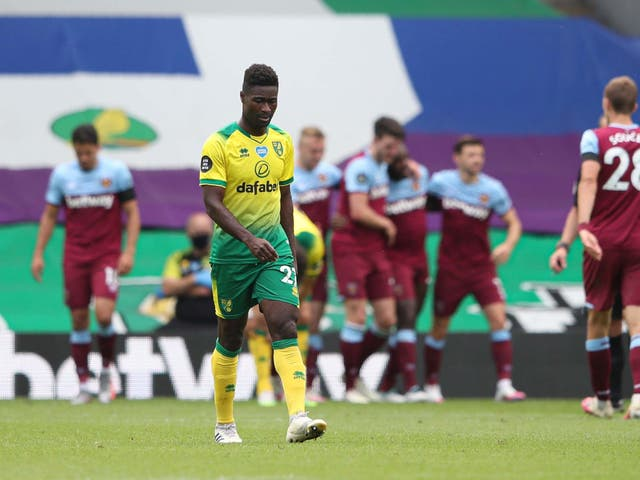 Alexander Tettey appears disconsolate as Norwich City are relegated from the Premier League