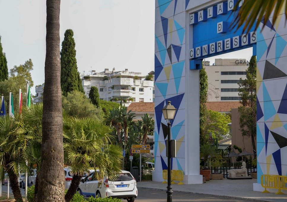 General view near the spot where a British man died after reportedly falling from a hotel balcony in Marbella, killing a Spaniard on the terrace below, 11 July 2020.