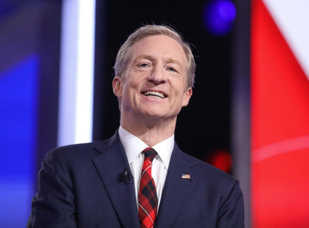 Billionaire Tom Steyer stood as a presidential candidate for the Democrats in early 2020