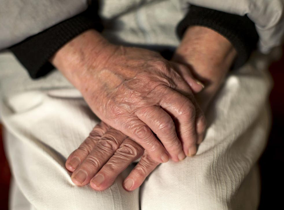 An undated photo showing the hands of an elderly woman.