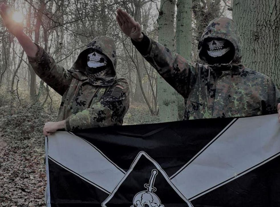Two UK members of Feuerkrieg Division in a picture posted in an online chat