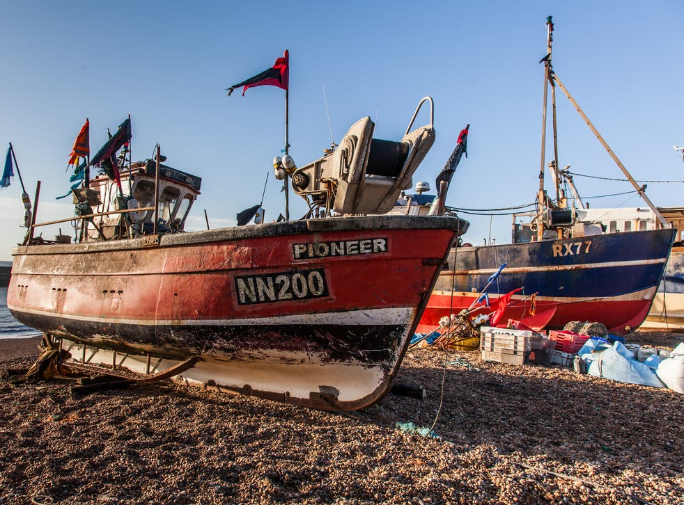 Fishing boats out of the water in Hastings - the town is home to Europe's largest beach-launched fishing fleet