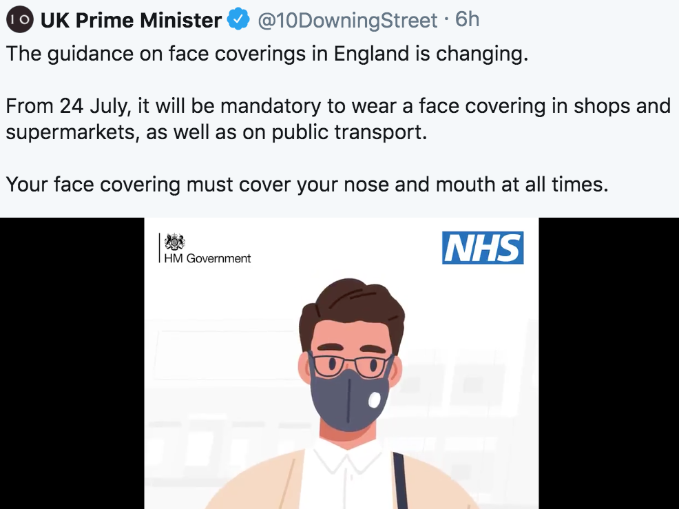 Government's new messaging on face coverings criticised for promoting 'useless' masks