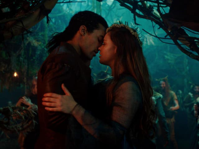 Devon Terrell as King Arthur and Katherine Langford as Nimue in 'Cursed', Netflix's latest spin on the Arthurian myth