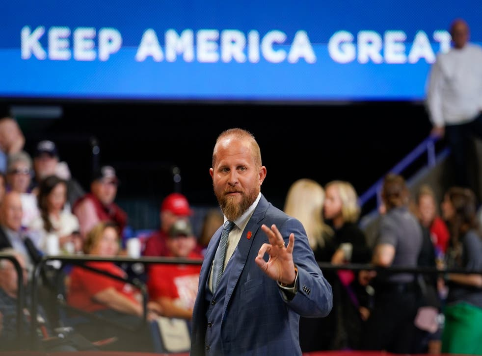 Brad Parscale signals to the crowd at a rally in Lexington, Kentucky