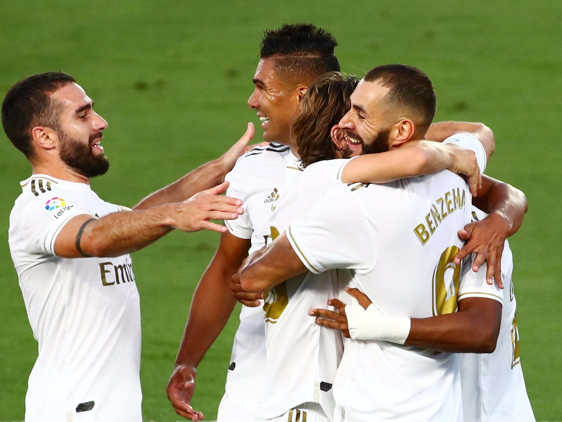 Real Madrid Clinch La Liga Title After Karim Benzema s Double Sees Off Villarreal The Independent The Independent