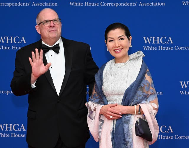 Maryland governor Larry Hogan with his wife, Yumi Hogan