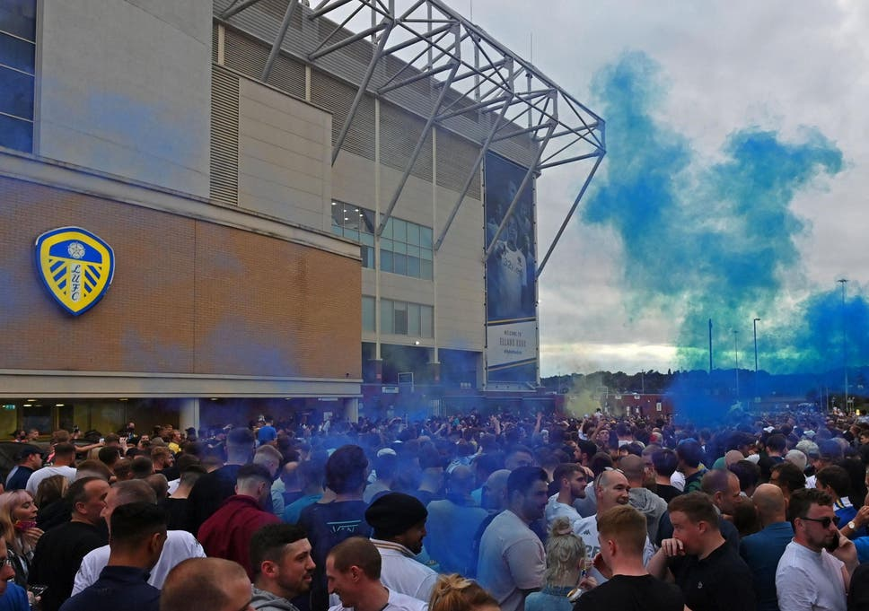 Leeds United: Fans gather at Elland Road to celebrate club's ...