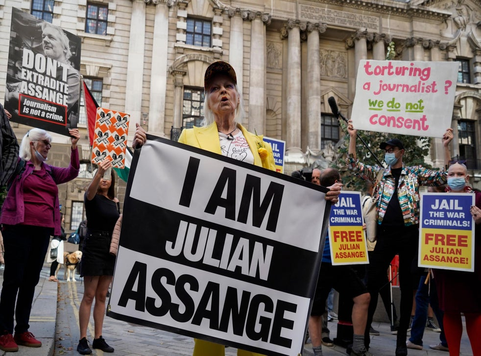 The designer is a long-time supporter of Julian Assange (Getty)