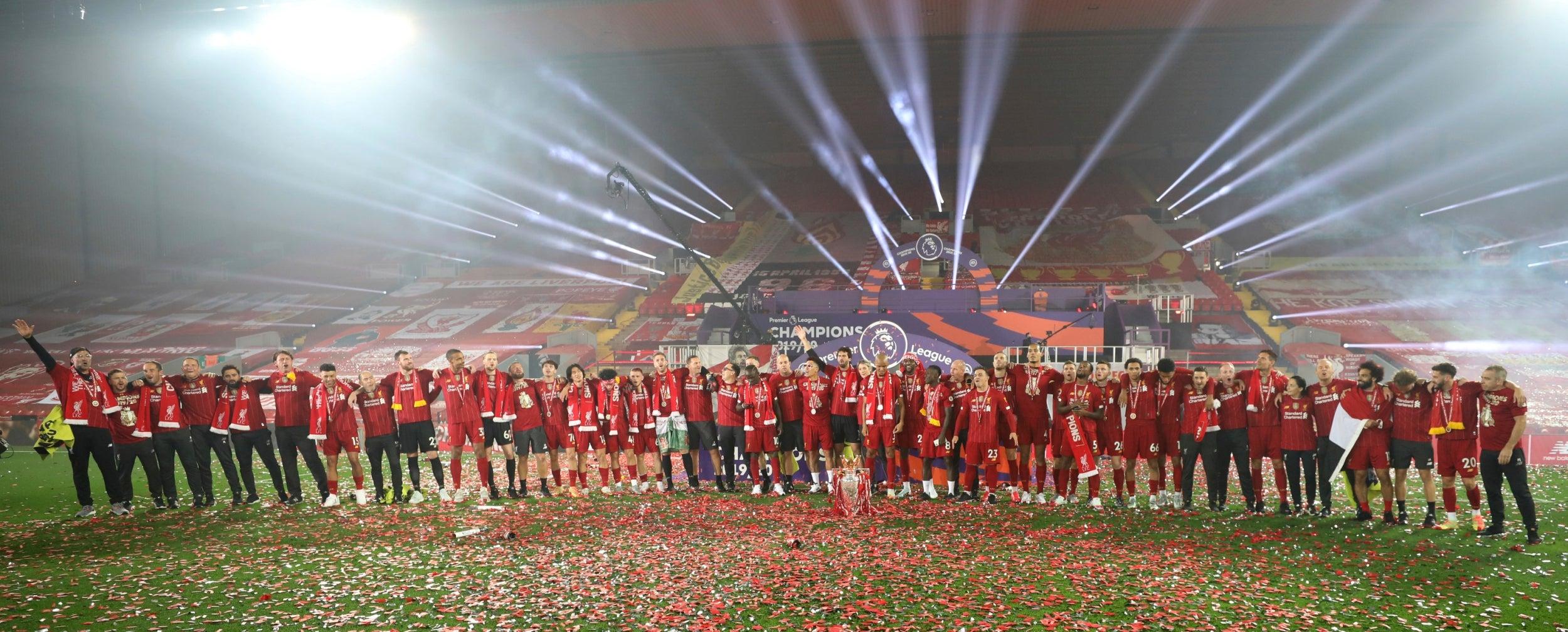 Liverpool lift the Premier League trophy