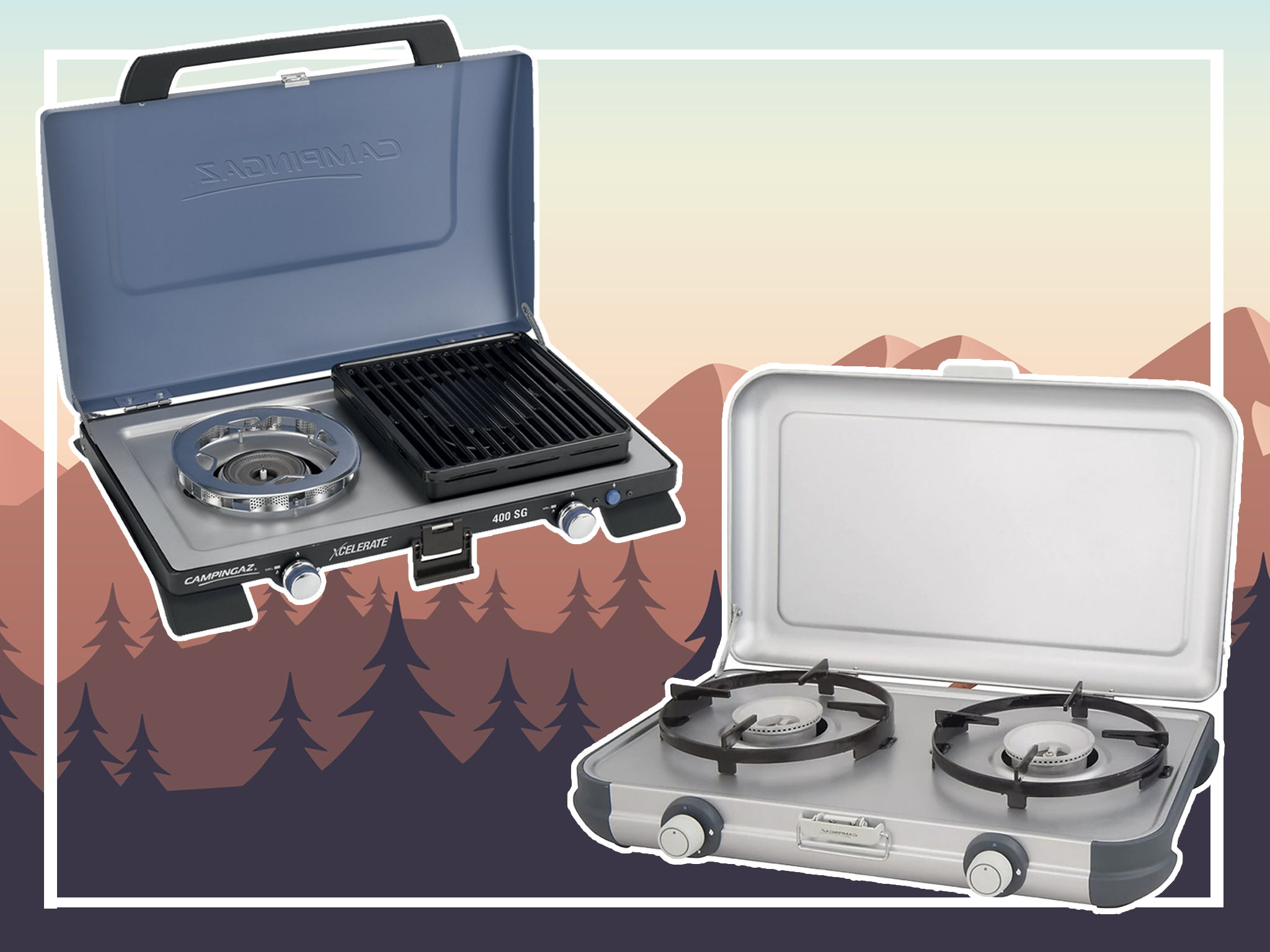 NJ SG-2 Portable Camping Gas Stove Double Burner BBQ Cooker Butane Outdoor Grill Plate /& CASE