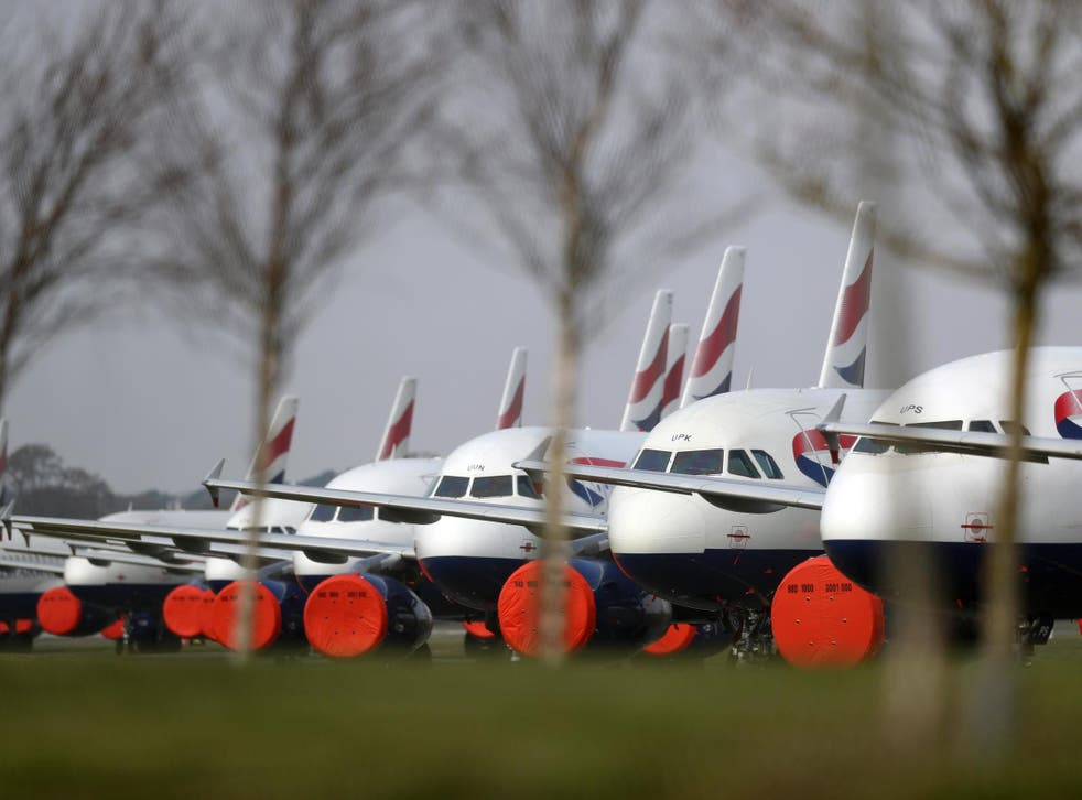 Grounded planes in Bournemouth at the beginning of lockdown