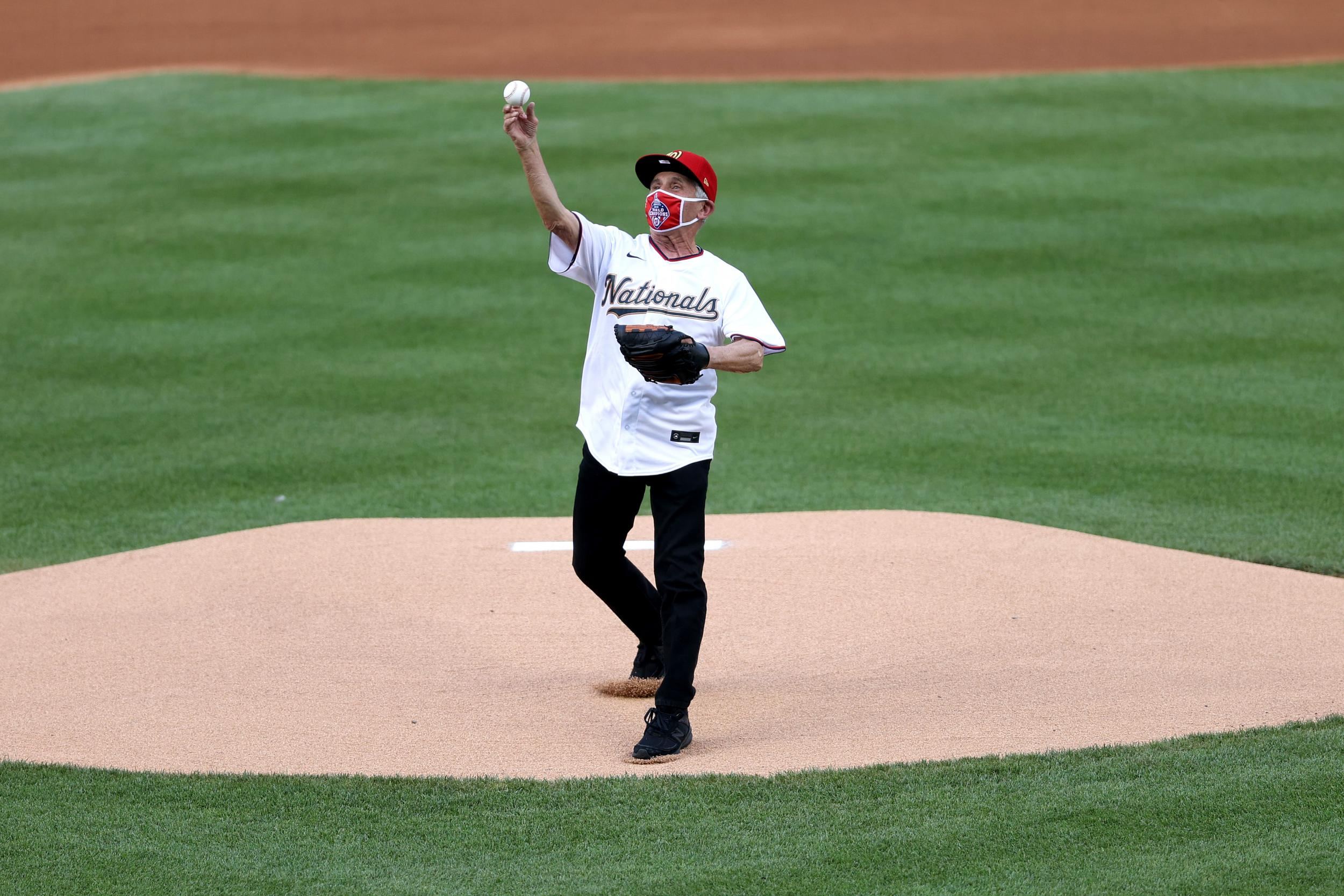 Dr Fauci throws out ceremonial first pitch on opening day of baseball season thumbnail
